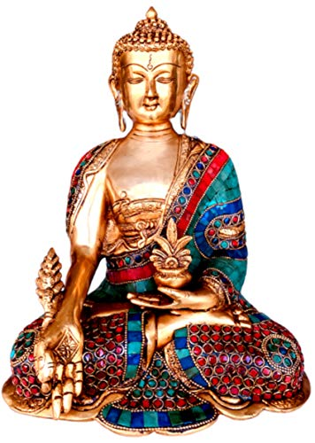 QT S Buddha Brass Statue Medicine Healing Lord Buddha 13' Stone Finish Buddha Statues for Home Temple Office Decorative Handmade in Nepal Popular in India Tibet Thai China & All Buddhism