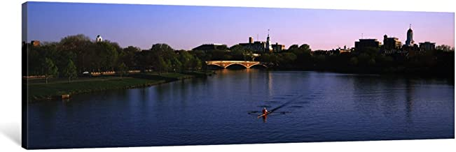 """iCanvasART 1 Piece Boat in a River, Charles River, Boston & CamBridge, Massachusetts, USA Canvas Print by Panoramic Images, 48 x 16/1.5"""" Deep"""