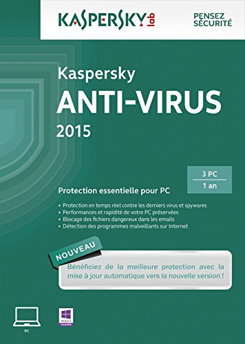Kaspersky Anti-Virus 2015 - 3 postes - 1 an [Download]