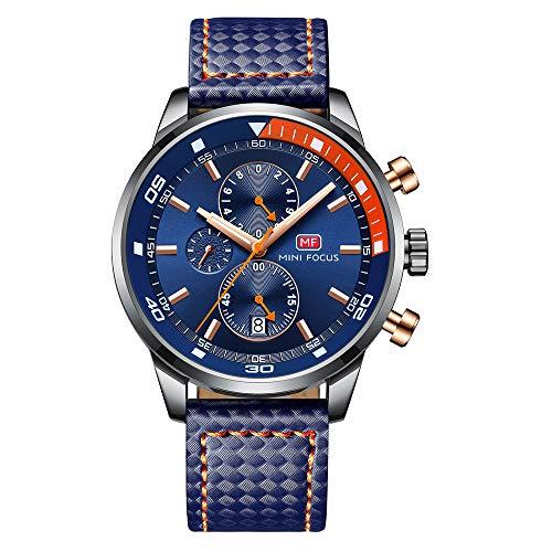 Herren Schwarz Uhren Männer Militär Wasserdicht Sport Groß Chronograph Quarz Armbanduhr Mann Mode Datum Kalender Geschäft Uhr (Blau 1)