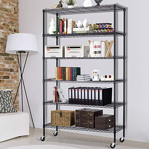 Storage Shelves Heavy Duty Shelving Adjustable 6 Tier Layer Wire Shelving Unit with Wheels Easy to Assemble Metal Wire Shelf Standing Garage Shelves Commercial Multifunctional Home Storage Rack Black