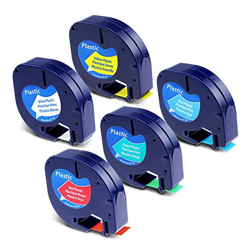 """Label KINGDOM Compatible Refills Replacement for DYMO LetraTag Plastic Label Tape 91331/91332/91333/91334/91335 Color Mixed, 1/2"""" x 13' Label Maker Tape for Dymo LetraTag Plus LT100H 5-Cartridge"""
