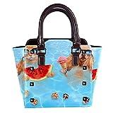 Bolso de mano con asa superior para mujer, de piel, con diseño de gato rojo que come sandía y perro come helado, bolso de mano