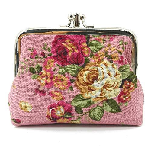 Cute Floral Buckle Coin Purses Vintage Pouch Kiss-lock Change Purse Wallets (05)