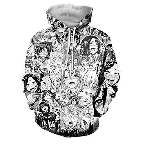 CHENMA Herren Lustiger Ahegao 3D-Druck Pullover Kapuzen-Sweatshirt mit Kängurutasche…, Farbe 5, 3XL