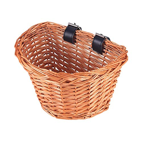 AOZBZ Wicker D-Shaped Bicycle Basket, Bicycle Handlebar Storage Basket with Leather Straps, Hand-Woven Bike Front Basket for Kids Children (S)