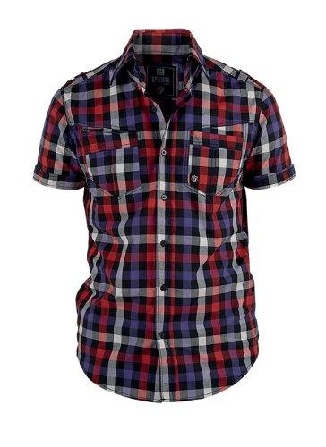 ROR Clothing décontractée pour Homme élégant à Manches Courtes Carreaux Rouge Bleu pour Homme - - Moyen