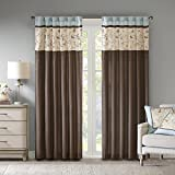 Madison Park Serene Embroidered Darkening Rod Pocket/Back Tab Treatment Curtain Set Window Panel Blackout Drapes for Bedroom Living Room and Dorm, 50x84, Blue