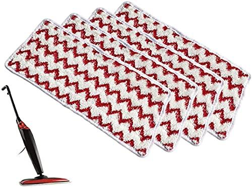 ZYXM 4 vervangende hoezen geschikt voor Vileda Steam XXL Power Pad stoomreiniger vervangende hoes, wasbaar in rood