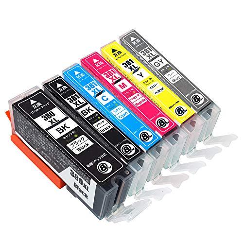 キヤノン用最優良互換インクカートリッジ BCI-380XL(BK/ブラック) BCI-381XL(BK/C/M/Y/GY)6色セット (大容量) 残量表示機能付/QR説明書付き/日本国内梱包 新ICチップ対応 (6色ハイブリッド)【Green Shower製】【安心一年パック】対応機種:Canon PIXUS TS8130 TS8230 TS8330 【380 381 6MP】