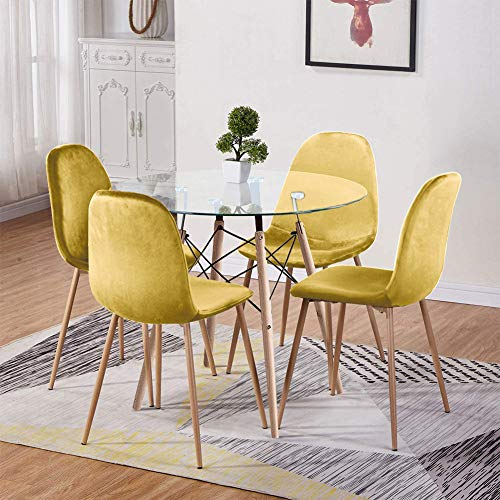 GOLDFAN Dining Table and Chair Set 4 Modern Round Tempered Glass Kitchen Table and Velvet Chairs with Solid Wood Legs Dining Room Set, Yellow