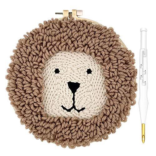 Kit de iniciación de agujas de lana Queen Punch | Kit de gancho para alfombra de animales, León-W, 1