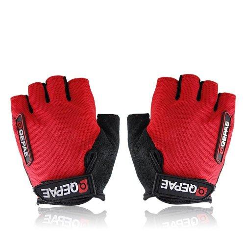QEPAE Non-Slip Gel Pad Gloves Men's Women's Sportswear Cycling Riding Short Half Finger Gloves Breathable, Large, Red