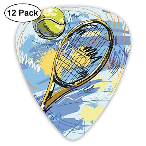 Tennisschläger- und Ballgitarren-Picks 12 Ukulelen-Picks, einschließlich 0,46 mm, 0,71 mm, 0,96 mm Akustikgitarre