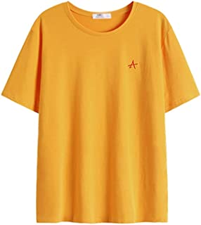 Casual Men's T-Shirt Short Sleeve, Round Collar Slim Short Sleeve Top (Color : Yellow, Size : XL)