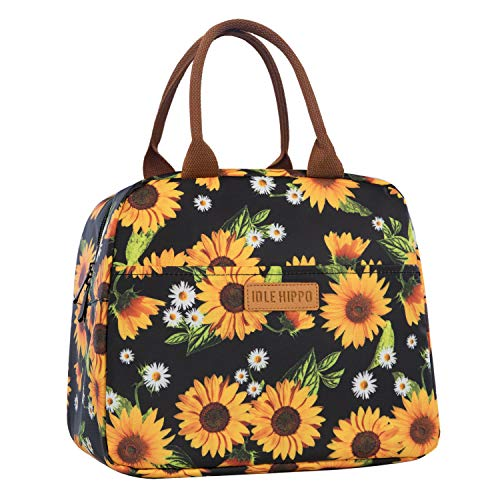 Insulated Lunch Bags for Women Cooler Tote Bag with Front Pocket Lunch Box Reusable Lunch Bag for Men Adults Girls Work School Picnic - Sunflower