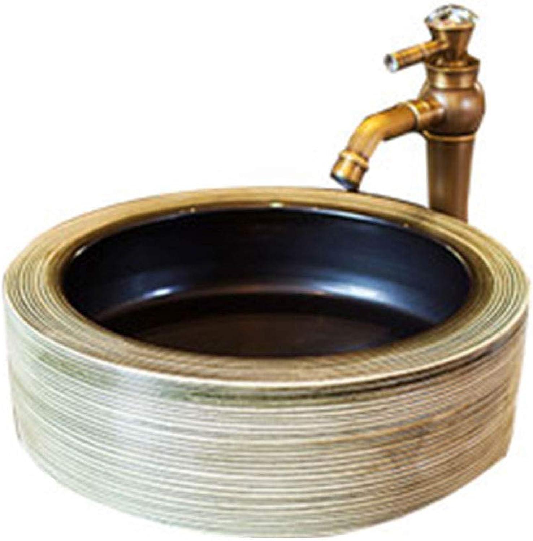 Round European Art Above Counter Basin Ceramic Washbasin Sink Bathroom Washing Hands Pool