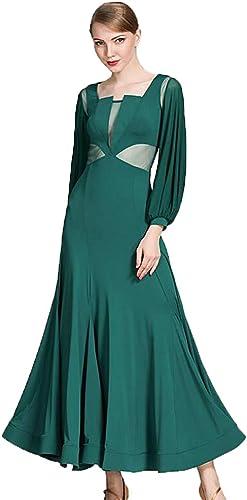 CPDZ Robes de Danse pour Les Femmes Danse Habiller pour Les Filles Vert Nylon Glace Soie Latine Robes UK Latin Robe Pratique Danse lyrique Robe Transparente Gaze Lanterne,L