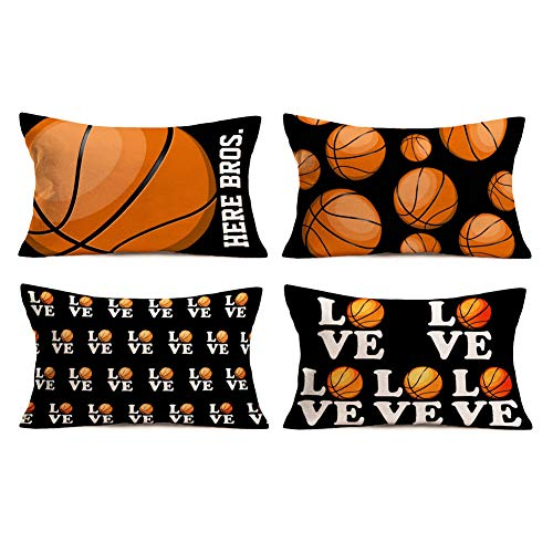 Aremetop Pack of 4 Love Basketball Pillow Covers Popular Sport Basketball Design Cotton Linen Throw Pillow Case Cushion Cover Protector Lumbar Cushion for Basketball Fans 12''x20'',Black,White,Orange