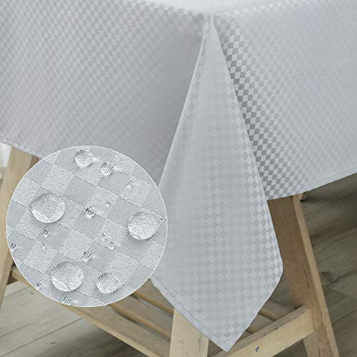 WELTRXE Tischdecke, Tischtuch aus Polyester mit Lotuseffekt Wasserabweisend, abwaschbar Tisch Decke, Tischwäsche Größe & Farbe wählbar 140 × 180 Silbergrau