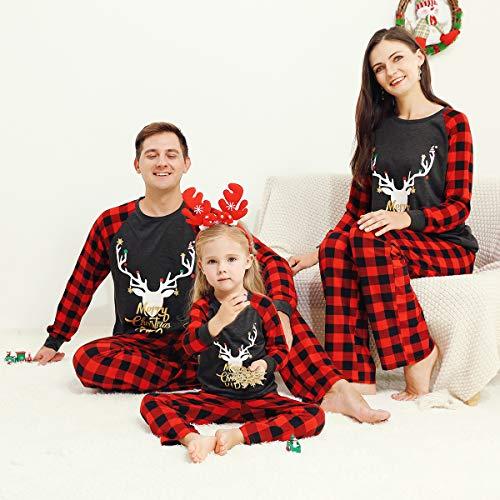 OhhGo Weihnachtliches Pyjama-Set für Damen, Herren, Kinder, Kleinkinder, kariert, Nachtwäsche, Größe M Gr. X-Large, Dad