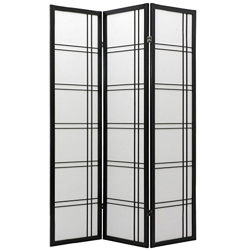 ORIENTAL Furniture Asian Home Decor Double Cross Double Sided Shoji Privacy Screen Room Divider, 4 Panel Black