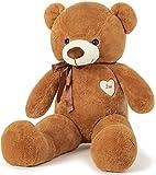 Oso de peluche grande de peluche animal de peluche de juguete de peluche de peluche con cinta gran regalo para cumpleaños, Navidad, San Valentín (marrón)