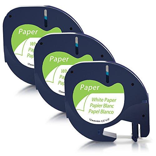 Unistar Kompatibel Etikettenband als Ersatz für Dymo Letratag 12mm x 4m Paper White 91220 91200 S0721520 Etikettenband Schwarz auf Weiß für Dymo LT100H T-100T LH-100 XR, 3-Rollen