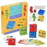 RXYYOS Cube en Bois Jouets Montessori Blocs de Construction de Puzzle D'expression Formation à la Pensée Logique Jouets Intellectuelle Parent-Enfant Jeux Éducatif Puzzle pour Filles Garçons 3+ Ans