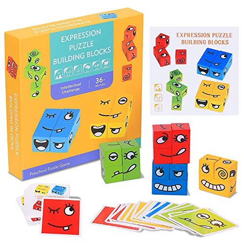 RXYYOS Espressione Puzzle di Legno Jigsaw Wooden Magic Cube Giocattoli Bambini Faccia Pattern Building Educativo da Tavolo per Bambini da più di 3 Anni Stacking Game