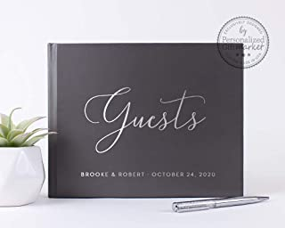 Personalized Wedding Guest Book, Custom Wedding Photo Album Guestbook with Real Embossed Foil - Hardcover (10x8 inches)