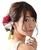 ミュゼ 袴 髪飾り ヘッドドレス 卒業式 和装 小物 (造花) 和風 ウェディング ダリア雅 (レッドピンク)