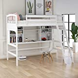 Harper & Bright Designs Twin Loft Bed with Desk for Kids, Wood Bunk Beds with Desk, No Box Spring Needed (White Loft Bed with Desk)