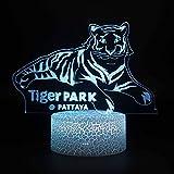 3D Ilusión Plataforma Luces de Noche Tigre 3D Lámpara Led Luz de Noche Navidad Regalo Decorativo Juguetes de Dibujos Animados Luminaria Batería USB