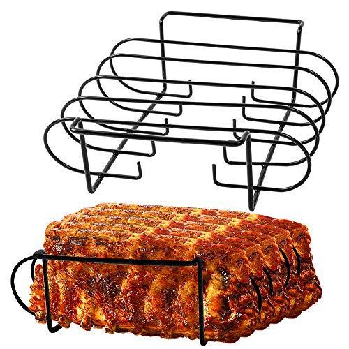 Rib Rack Grill Racks Pork Rib Rack Non Stick Rib Rack BBQ for 2 Set Porcelain Coated Steel Roasting Stand Holds 4 Rib Racks for Grilling & Barbecuing (2 packs rib racks)