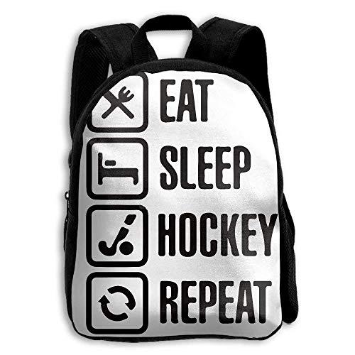 NA Eet Slaap Hockey Herhaal School Rugzak Kinderen Schouder Daypack Kid -