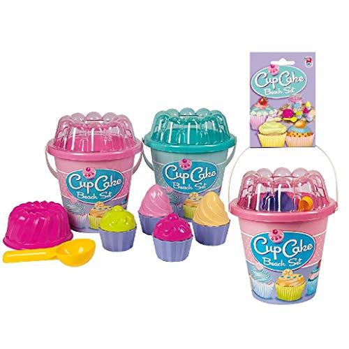 Simba 0732169 107110554 - Eimergarnitur Cupcake, es wird nur ein Artikel geliefert, 12 Teile, Eimer, Sieb, 9x Sandform, Portionierer, Höhe 16cm, Durchmesser 17cm, KTSandkasten, Sandspielzeug