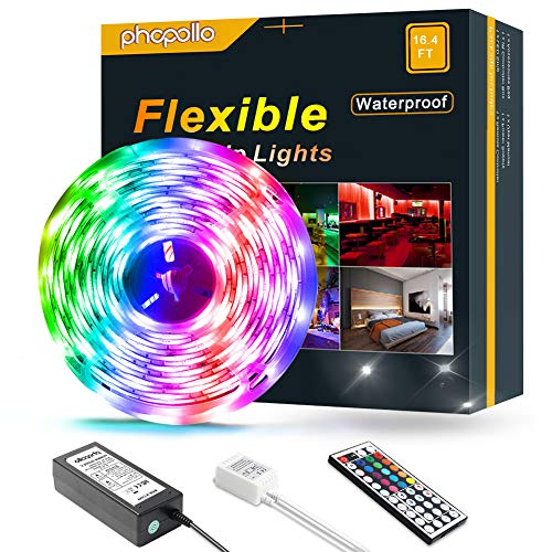 PHOPOLLO LED Strip Lights 5050 Color Changing 150 LEDs 16.4 ft Waterproof Flexible LED Lighting Kit with 44 Key IR Remote Controller and 12V Power Supply for Room, Bedroom
