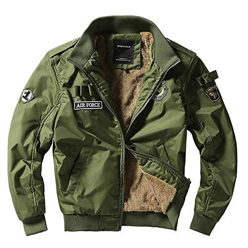 Xmiral Hombre Chaqueta Bomber con Cierre De Cremallera Cuello Alto Solapa con Forro Polar Calentito Militar(Verde,4XL/ES 46-48)