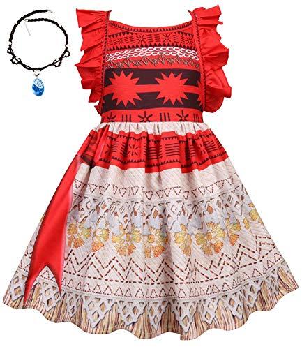 O.AMBW Disfraz de Moana Cosplay con Accesorios Princesa Moana Jefe de Motunui Traje de Aventura Vestido de nia de 2 a 8 aos Celebracin Fiesta de cumpleaos Verano Cosplay Vaiana