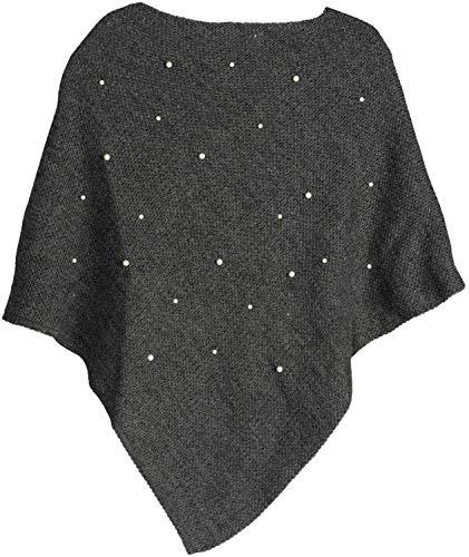 styleBREAKER Damen Feinstrick Poncho mit Perlen Applikation, Rundhals 08010056, Farbe:Dunkelgrau