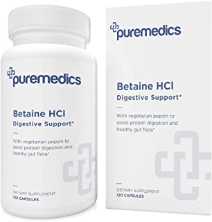 PUREMEDICS Betaine HCL with Pepsin - Betaine Hydrochloride to Support Healthy Digestive Function - Vegetarian Formula - Ph...