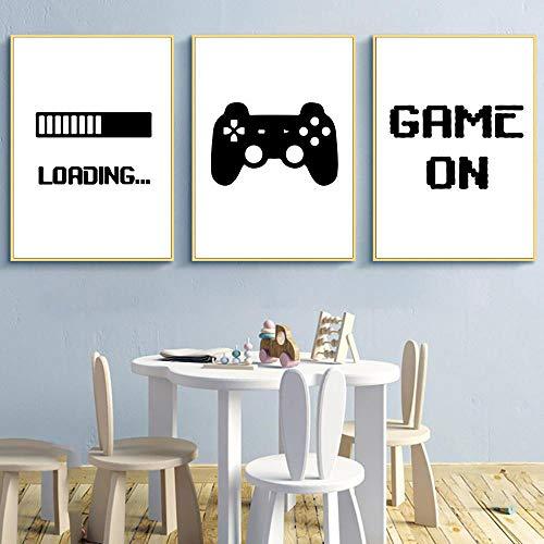 Impresión de lienzo minimalista juego de carga de juegos arte de pared póster Gamer lienzo pintura habitación de niños imagen decorativa decoración de sala de juegos | 30x42cmx3Pcs / sin marco