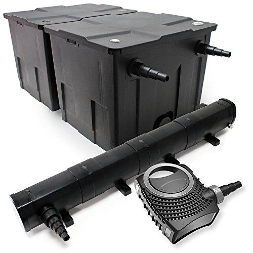 Kit de Filtration de Bassin Bio Filtre 60000l Stérilisateur UVC 72W 80W Pompe éco