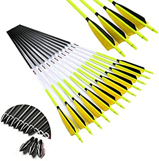 Archery Carbon Arrows ID6.2mm Spine 300 340 400 500 600 28inch 30inch 32inch Arrow Accessories Compound Recurve Traditional Bow Hunting Shooting 6PCS