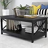 Binrrio Mid Century Modern Coffee Table Industrial Black Center Tables for Living Room Rectangle Wooden Coffee Table W/Storage Shelf (Black)
