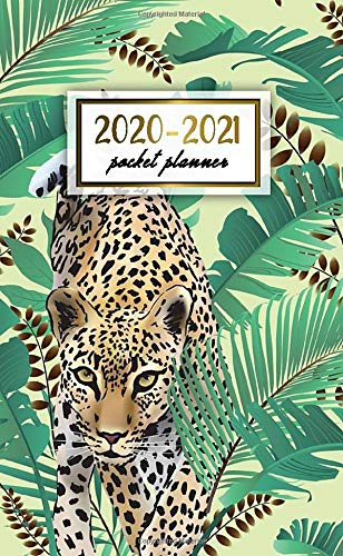 2020-2021 Pocket Planner: Jungle Leopard Two Year (24 Months) Monthly Pocket Planner & Schedule Agenda | 2 Year Organizer with Phone Book, Password Log & Notes | Pretty Tropical Print