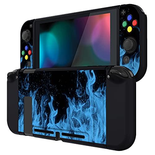 PlayVital Protector para Nintendo Switch Carcasa con Tapas de Botón Estuche Delgado de TPU Suave Funda para Nintendo Switch JoyCon&Consola Incluye Colorido ABXY Dirección Botón Caps(Llama Azul)