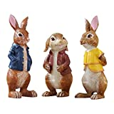 nobrand Easter Rabbit Small Three Rabbits Ornament Resin Bunny Figurines Rabbit Family Home Ornament,Outdoor Decor,Garden,Office