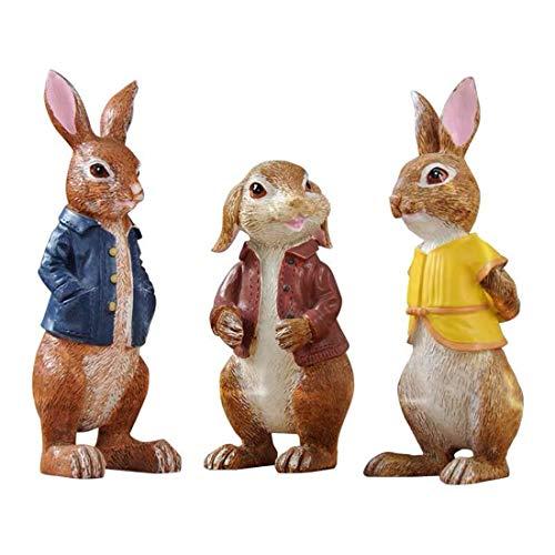 nobrand Easter Bunny Three Rabbits Resin Decoration Rabbit Figurine Home Accessories, Garden Decoration, Rural Decoration, Office Decoration,Cafe Decoration
